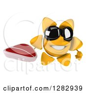 Clipart Of A 3d Sun Character Wearing Sunglasses And Holding A Beef Steak Royalty Free Illustration