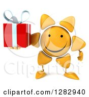 Clipart Of A 3d Sun Character Holding A Gift Royalty Free Illustration