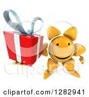 Clipart Of A 3d Sun Character Holding Up A Gift Royalty Free Illustration