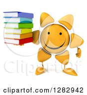 Clipart Of A 3d Sun Character Holding A Stack Of Books Royalty Free Illustration
