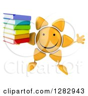 Clipart Of A 3d Sun Character Jumping And Holding A Stack Of Books Royalty Free Illustration