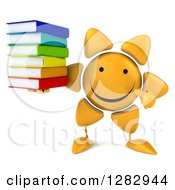 Clipart Of A 3d Sun Character Holding And Pointing To A Stack Of Books Royalty Free Illustration