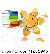 Clipart Of A 3d Sun Character Holding Up A Finger And A Stack Of Books Royalty Free Illustration
