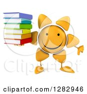 Clipart Of A 3d Sun Character Holding A Thumb Down And A Stack Of Books Royalty Free Illustration