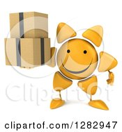 Clipart Of A 3d Sun Character Holding Boxes Royalty Free Illustration