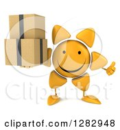 Clipart Of A 3d Sun Character Holding A Thumb Up And Boxes Royalty Free Illustration