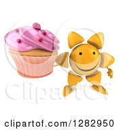 Clipart Of A 3d Sun Character Holding Up A Pink Frosted Cupcake Royalty Free Illustration