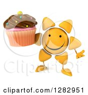 Clipart Of A 3d Sun Character Shrugging And Holding A Chocolate Frosted Cupcake Royalty Free Illustration