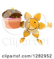 Clipart Of A 3d Sun Character Jumping And Holding A Chocolate Frosted Cupcake Royalty Free Illustration