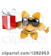 Clipart Of A 3d Sun Character Wearing Sunglasses Holding A Thumb Up And A Gift Royalty Free Illustration