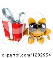 Clipart Of A 3d Sun Character Wearing Sunglasses And Holding Up A Gift Royalty Free Illustration