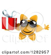 Clipart Of A 3d Sun Character Wearing Sunglasses Jumping And Holding Up A Gift Royalty Free Illustration