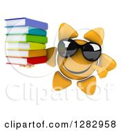 Clipart Of A 3d Sun Character Wearing Sunglasses Holding And Pointing To A Stack Of Books Royalty Free Illustration