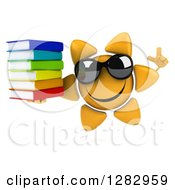 Clipart Of A 3d Sun Character Wearing Sunglasses Holding Up A Finger And A Stack Of Books Royalty Free Illustration