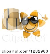 Clipart Of A 3d Sun Character Wearing Sunglasses Holding Up A Finger And Boxes Royalty Free Illustration