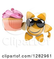 Clipart Of A 3d Sun Character Wearing Sunglasses And Holding A Pink Frosted Cupcake Royalty Free Illustration