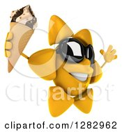 Clipart Of A 3d Sun Character Wearing Sunglasses Facing Right Jumping And Holding A Waffle Ice Cream Cone Royalty Free Illustration