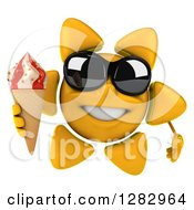 Clipart Of A 3d Sun Character Wearing Sunglasses And Holding A Waffle Ice Cream Cone Royalty Free Illustration