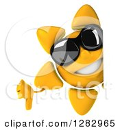 Clipart Of A 3d Sun Character Wearing Sunglasses And Holding A Thumb Down Around A Sign Royalty Free Illustration
