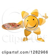 Clipart Of A 3d Sun Character Holding Up A Finger And A Pizza Royalty Free Illustration