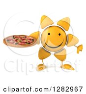 Clipart Of A 3d Sun Character Holding A Pizza And A Thumb Down Royalty Free Illustration