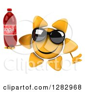 Clipart Of A 3d Sun Character Wearing Shades Shrugging And Holding A Soda Bottle Royalty Free Illustration