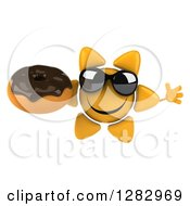 Clipart Of A 3d Sun Character Wearing Shades Jumping And Holding A Chocolate Frosted Donut Royalty Free Illustration