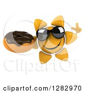 Clipart Of A 3d Sun Character Wearing Shades Holding Up A Finger And A Chocolate Frosted Donut Royalty Free Illustration