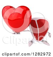 Clipart Of A 3d Beef Steak Character Holding Up A Heart Royalty Free Illustration