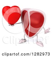 Clipart Of A 3d Beef Steak Character Shrugging And Holding A Heart Royalty Free Illustration