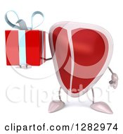 Clipart Of A 3d Beef Steak Character Holding A Gift Royalty Free Illustration