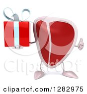 Clipart Of A 3d Beef Steak Character Holding A Gift And Thumb Up Royalty Free Illustration
