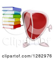 Clipart Of A 3d Beef Steak Character Holding A Stack Of Books And Thumb Down Royalty Free Illustration