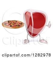 Clipart Of A 3d Beef Steak Character Holding A Pizza And A Thumb Up Royalty Free Illustration