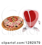 Clipart Of A 3d Beef Steak Character Holding Up A Pizza Royalty Free Illustration