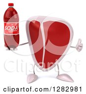 Clipart Of A 3d Beef Steak Character Holding A Soda Bottle And A Thumb Up Royalty Free Illustration