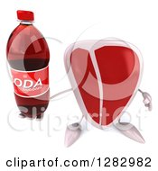 Clipart Of A 3d Beef Steak Character Holding Up A Soda Bottle Royalty Free Illustration