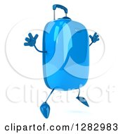 Clipart Of A 3d Blue Suitcase Character Facing Right And Jumping Royalty Free Illustration