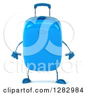 Clipart Of A 3d Blue Suitcase Character Looking Down Royalty Free Illustration
