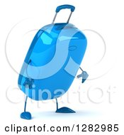 Clipart Of A 3d Blue Suitcase Character Facing Right And Looking Down Royalty Free Illustration