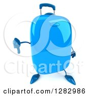 Clipart Of A 3d Blue Suitcase Character Holding Up A Thumb Down Royalty Free Illustration