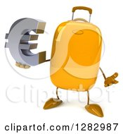 Clipart Of A 3d Yellow Suitcase Character Shrugging And Holding A Euro Currency Symbol Royalty Free Illustration
