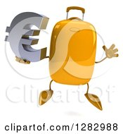 Clipart Of A 3d Yellow Suitcase Character Jumping And Holding A Euro Currency Symbol Royalty Free Illustration