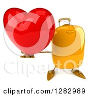 Clipart Of A 3d Yellow Suitcase Character Holding Up A Heart Royalty Free Illustration