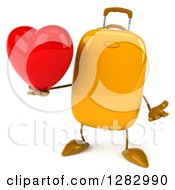 Clipart Of A 3d Yellow Suitcase Character Shrugging And Holding A Heart Royalty Free Illustration