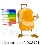 Clipart Of A 3d Yellow Suitcase Character Holding Up A Finger And A Stack Of Books Royalty Free Illustration