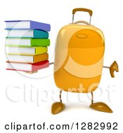 Clipart Of A 3d Yellow Suitcase Character Holding A Thumb Down And A Stack Of Books Royalty Free Illustration