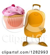 Clipart Of A 3d Yellow Suitcase Character Holding And Pointing To A Pink Frosted Cupcake Royalty Free Illustration