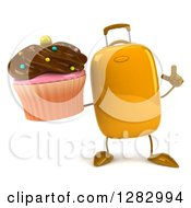 Clipart Of A 3d Yellow Suitcase Character Holding Up A Finger And A Chocolate Frosted Cupcake Royalty Free Illustration