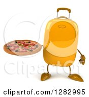 Clipart Of A 3d Yellow Suitcase Character Holding A Pizza Royalty Free Illustration